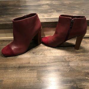 Ann Taylor LOFT maroon leather booties